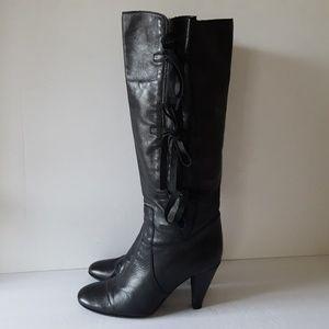 Lavorazione Artigiana Leather Tall Bow Tie Boots